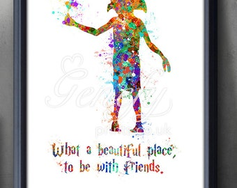 Harry Potter Dobby Elf Silhouette Quote [1] Poster Print - Wall Decor - Artwork- Painting - Illustration-Home Decor-Kids Decor-Nursery Decor