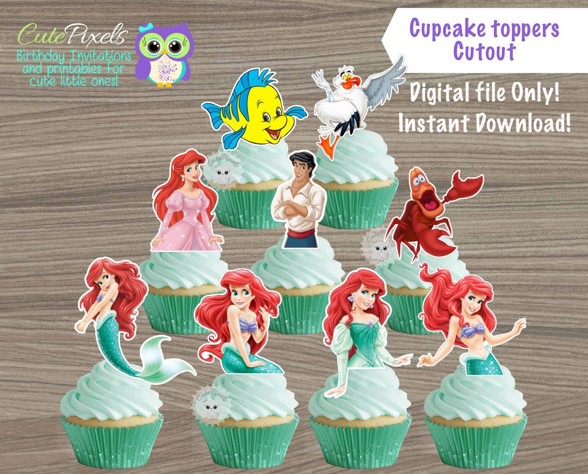 The little Mermaid cupcake toppers, Princess Ariel Cupcake ...