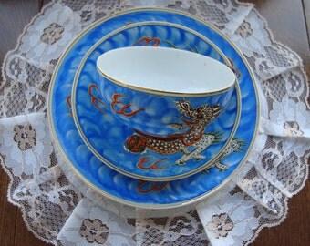 Lithophane Geisha Girl - Hand Painted Japan Dimensional Dragons - 3 Piece Vintage Tea Cup, Saucer and Side Plate