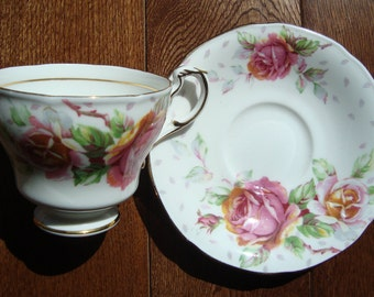 "Paragon ""Golden Emblem - Fine Bone China England - Vintage Tea Cup and Saucer - Pink Roses with Green and Pink Leaves"