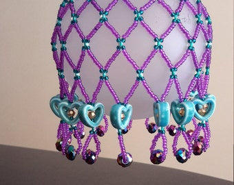 Beaded Valentine Net Heart ornament bauble cover