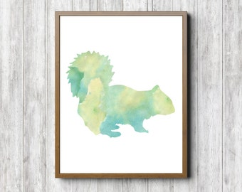 Instant Download - Woodland Animal Wall Art - Watercolor Squirrel Print - Boys /Girls Room Decor - Woodland Creature - Digital Artwork