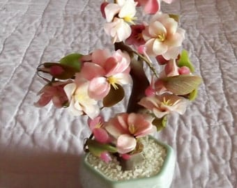 GUMP'S...Vintage Asian Cherry Blossom Faux Planter...Made in JAPAN...New Listing