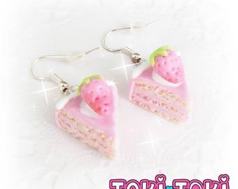 Cake Earrings, Pink Earrings, Strawberry Cake, Kawaii Earrings, Miniature Dessert Earrings, Food Gift, Cute Jewelry, Pastel Pink Jewelry,