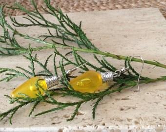 Yellow festive Christmas Tree lightbulb dangle earrings. Pefect for the holidays!
