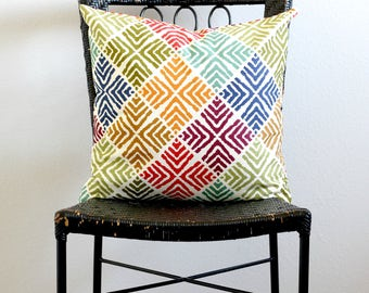 Blue, green, Orange, Red Pillow Cover, African Couch Pillow Covers, Blue Orange Decorative Throw Pillow, African Euro Sham, Blue Pillow Sham
