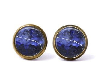 Aries Constellation Stud Earrings   Aries Earrings Constellation Jewelry Zodiac Earrings Galaxy Earrings Space Stars Astrology Watercolor