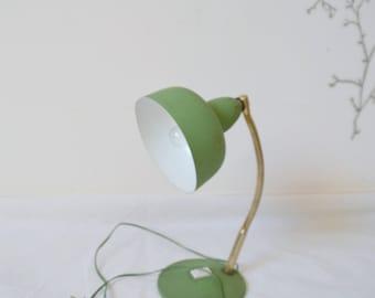 Vintage desk lamp, 60s, green color, height 29cm, lamp, desk.