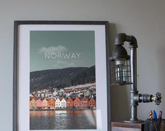 Bergen, Norway Poster 11x17 18x24 24x36