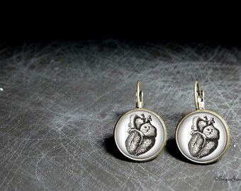 Anatomy Heart Earrings High Quality Glass Earrings - Medical Student Heart Surgeon Earrings - Metal Heart Earrings For Doctor or Nuse Gift