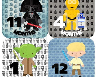 Star Wars Month Stickers - Baby boy Monthly stickers - Baby month stickers -  Months 1-12 stickers - baby boy stickers