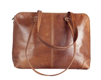 Womens Light Brown Leather Tote Bag/Leather Shoulder Bag/Leather tote - Vanity Fair