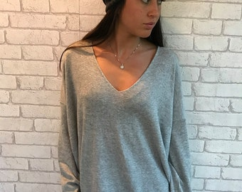 Gray knitted shirt, oversize knitted shirt, long sleeves shirt, V neck tunic- Noami