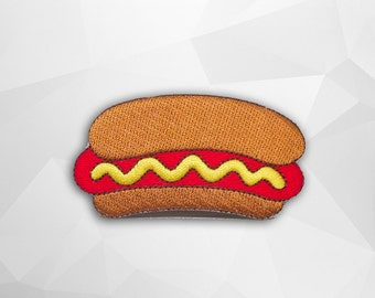 Hot Dog Iron on Patch(L1) - Burger Applique Embroidered Iron on Patch- Size 7.9x4.5 cm