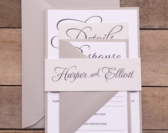 Gray Wedding Invitations, Modern Wedding Invitation, Script Invitations, Light Gray, Shades of Grey, monotone Invitations s020 Harper
