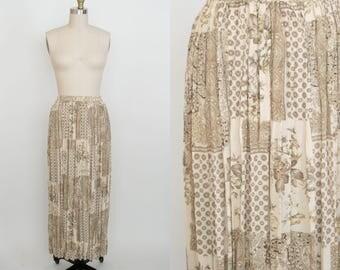 Vintage 1990s Express High Waist Skirt - Long Skirt - Calf Length - Sheer - Brown - Paisley Floral - Boho Hippie - Women's Small