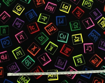 Fabric patchwork-table periodic of the elements