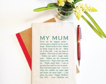 My Mum Personalised Notebook And Reusable Cover (various colours)