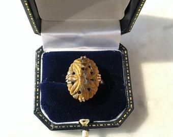 Vintage Carved Tigers Eye 14K Gold Ring
