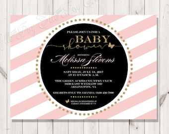 Ritzy Baby Girl Shower Invitation - Pink and White Stripes with Gold Glitter Embellishments - Pink, Black, and White