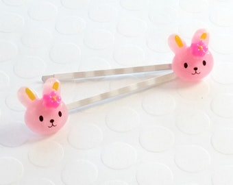 Bunny bobby pins, Easter Bobby Pins, Girls Bobby Pins, Girls Hair pin, Girls Bobby Pin, Baby Bobby Pins, Pink Bobby Pins, Fun Hair Accessory