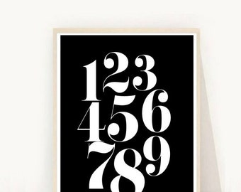 Nursery Wall Art, Numbers Printable Art, Retro Numbers, Typography Print, Digital Print, Nursery Art, Instant Download, Modern Wall Art