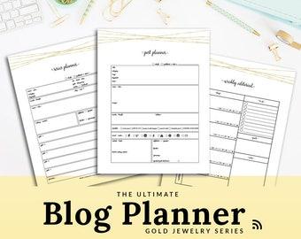 Blog Planner | Printable Blog Planner | Blogging Kit | Editorial Calendar | Gold | Pretty | PBLG-1303 | Letter | A4 | A5 | MINI BINDER