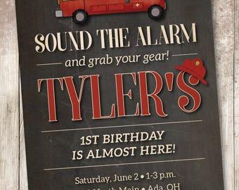 Fire Truck Birthday Invitation, Fireman Birthday Invitation, Fire Fighter Birthday Invitation