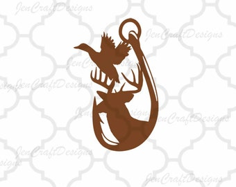 Duck, Deer and Hook in Svg, eps, dxf, Ai and PNG Format for Cricut and Silhouette, Hunting Fishing