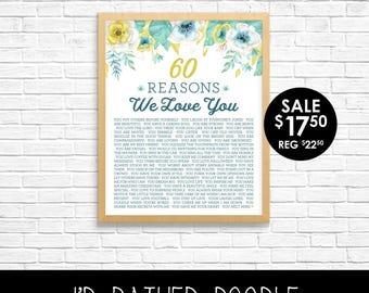 Boho Watercolor Floral Reasons I Love You - Gold Glitter & Mint Reasons We Love You  - 40 50 60 Reasons - Any Number - Custom Printable
