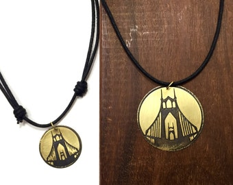 St Johns Bridge Cord Necklace, Made in Oregon, Bridges of Portland, Brass Etched Necklace, Adjustable Corded Necklace, Hand Forged Necklace