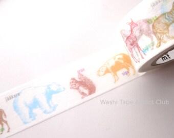Animal Washi Tape, Kids Room, Gift Wrapping, Japanese Stationery, White washi tape, Hobonichi tape, mt ex wide tape