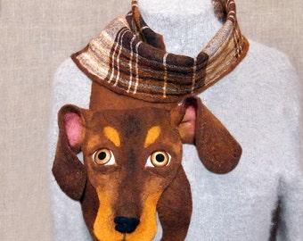 Wool Scarf Dachshund Dog Brown White Checkered