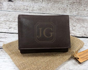 Tri Fold Personalized Mans Wallet - Gifts for Men - Groomsmen Gift - Husband- Grandfather- Leather - Monogrammed - Christmas(777)