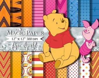 50% OFF SALE Winnie Pooh Digital Paper Invitation Printable Clipart Clip Art
