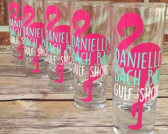 Bachelorette Party Shot Glass, Beach Bachelorette Party, Flamingo Shot Glass, Party Favor, Flamingo Bach Bash, Gulf Shores, Destin, Beach