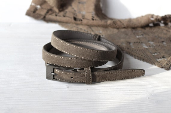 brown suede belt for 4 5 inch narrow belt womens