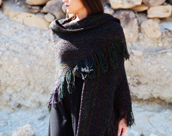 Knitted boho Lagenlook extra large beautiful multi-color shawl,shoulder scarf.