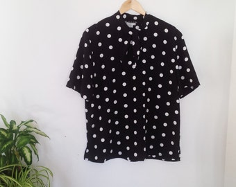 black and white polka dot short sleeve blouse in plus size
