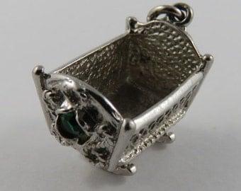 Rocking Cradle With Green Stones Sterling Silver Vintage Charm For Bracelet
