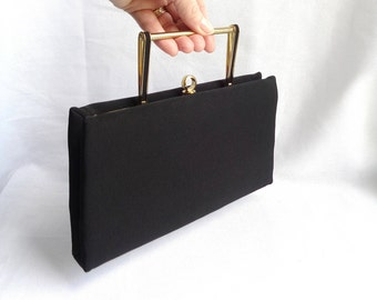 After Five Art Deco Style Vintage Handbag/Clutch with Sleek Gold and Black Handle and Black Faille Rich Fabric Exterior - Like New Condition