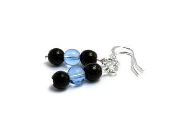 Soccer Earrings - Light Blue Earrings  - Black Earrings - Sports Team Earrings - Team Spiritwear - Sports Gifts for Moms - Minnesota United