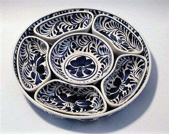 Appetizer Platter, 7 Pc Set - Chips/Dip Tray, Serving Platter - Mexican Pottery, Snack Tray