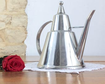 French Conical Metal Teapot. Vintage Cone-Shaped Stainless Steel Teapot