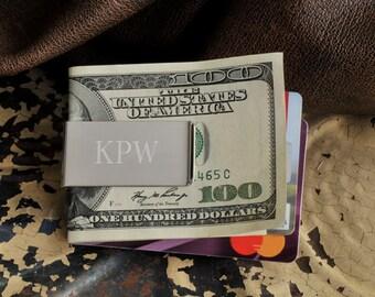 Engraved Money Clip - Credit Card Holder - Silver Money Clip Wallet Alternative - Mens Money Clip