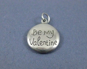 2 Be My Valentine Charms - Be My Valentine Pendants - Valentine Charm - Love Charm - Antique Silver - 21mm x 18mm  -- (H2-12189)