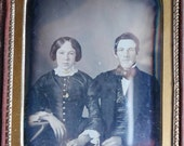 Portrait Daguerreotype, Attractive Young Couple by Oliver H. Willard, Philadelphia PA, 1/4 Plate, Beautiful Leather Case