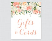 Peach Gifts and Cards Sign for Floral Bridal Shower - Printable Peach Cream Flower Shower Gift Table Sign - Cards & Gifts Bridal Sign 0028