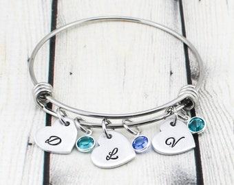 Custom Heart Initial Bracelet for Women - Personalized Birthstone Bracelet - Mom Bracelet - Gift for Mom - Gift for Grandma - Nana Gift