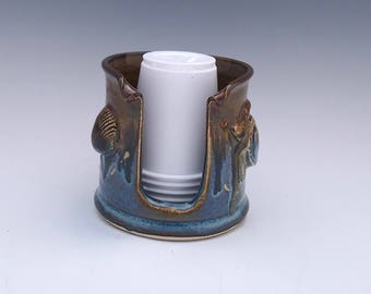 Turtle and Shell Bathroom Cup Holder (3 Ounce) - Blue and Bronze Cup Holder - Pottery Bathroom Cup Holder Cup Holder - Made To Order